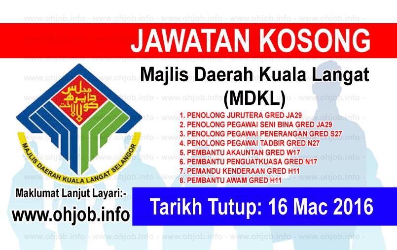Jawatan Kerja Kosong Majlis Daerah Kuala Langat (MDKL) logo www.ohjob.info mac 2016