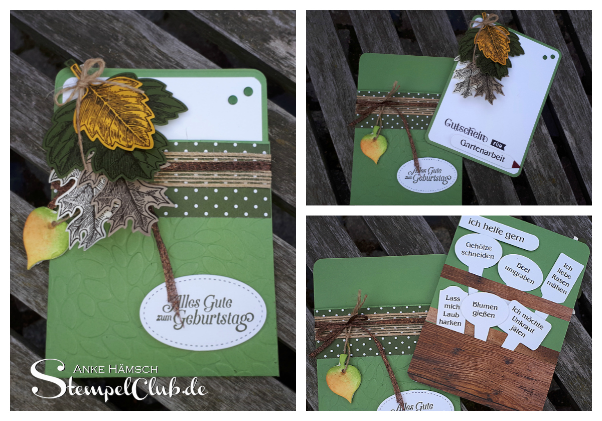 Herbstlicher Gutschein für Gartenarbeit als Einsteckkarte, mit Stempel und Stanzen von Stampin' Up!