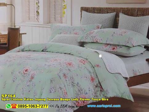 Sprei Custom Katun Jepang Dewasa Bunga Lady Flower Tosca Biru