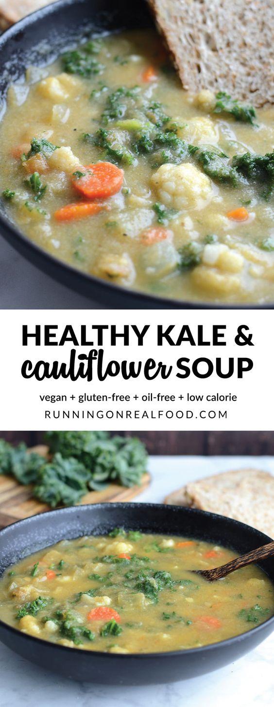 HEALTHY KALE AND CAULIFLOWER SOUP #kale #kalesoup #cauliflower #cauliflowersoup #soup #souprecipes #healthysouprecipes #healthysoup