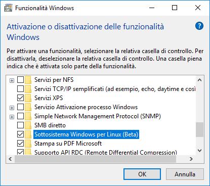 Windows 10, Sottosistema Windows per Linux