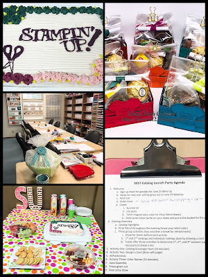 Linda Vich Creates: 2017 Catalog Launch Party. Collaged photo showing decor for catalog launch party.