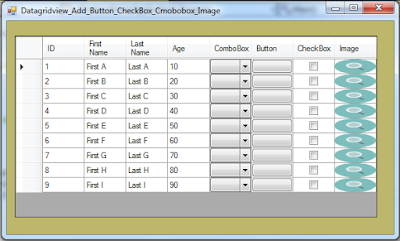 c# Add ComboBox Button CheckBox Image to dataGridView