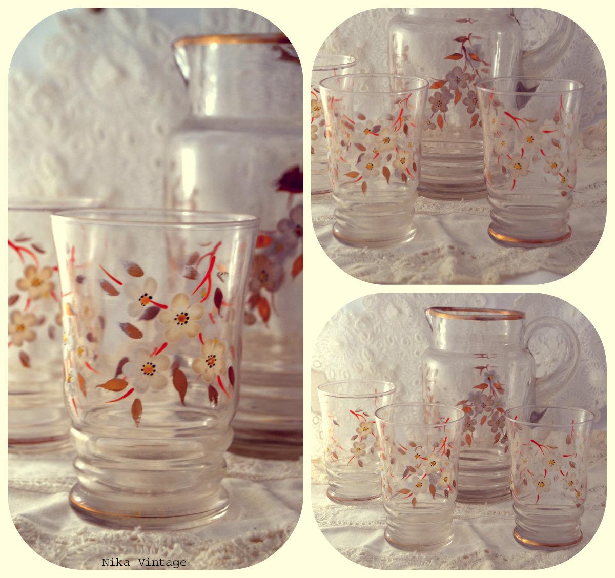juego de agua, complementos, objetos antiguos, mesa navideña, navidad, decoracion, cristal,