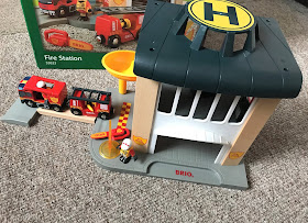 BRIO Fire Station playset set up