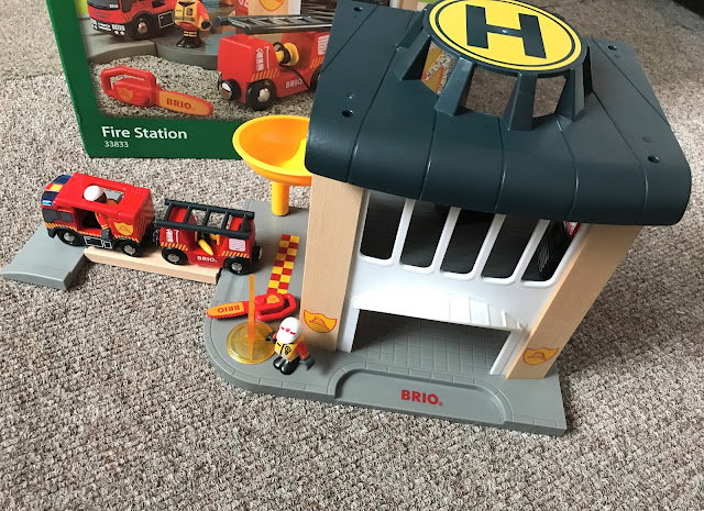 BRIO Fire Station playset set up
