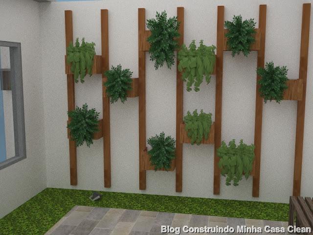 Jardim vertical e piso com grama ao redor!! Quero colocar um espelhão