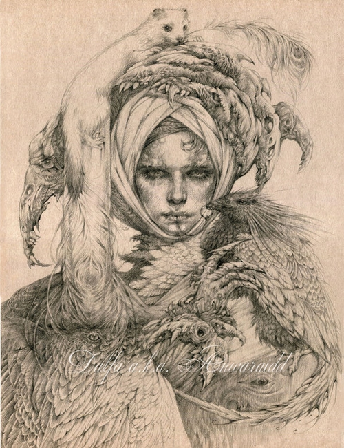 14-Lady-with-an-Ermine-Olga-Anwaraidd-Drawings-Fantasy-Portraits-Imaginary-Characters-www-designstack-co