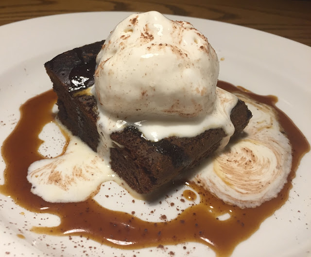 Sticky toffee pudding, toffee sauce & vanilla ice cream.