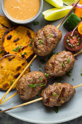 grilled beef kofta with coconut sauce