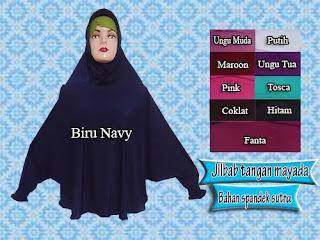 jilbab syar'i model tangan bahan spandek sutra