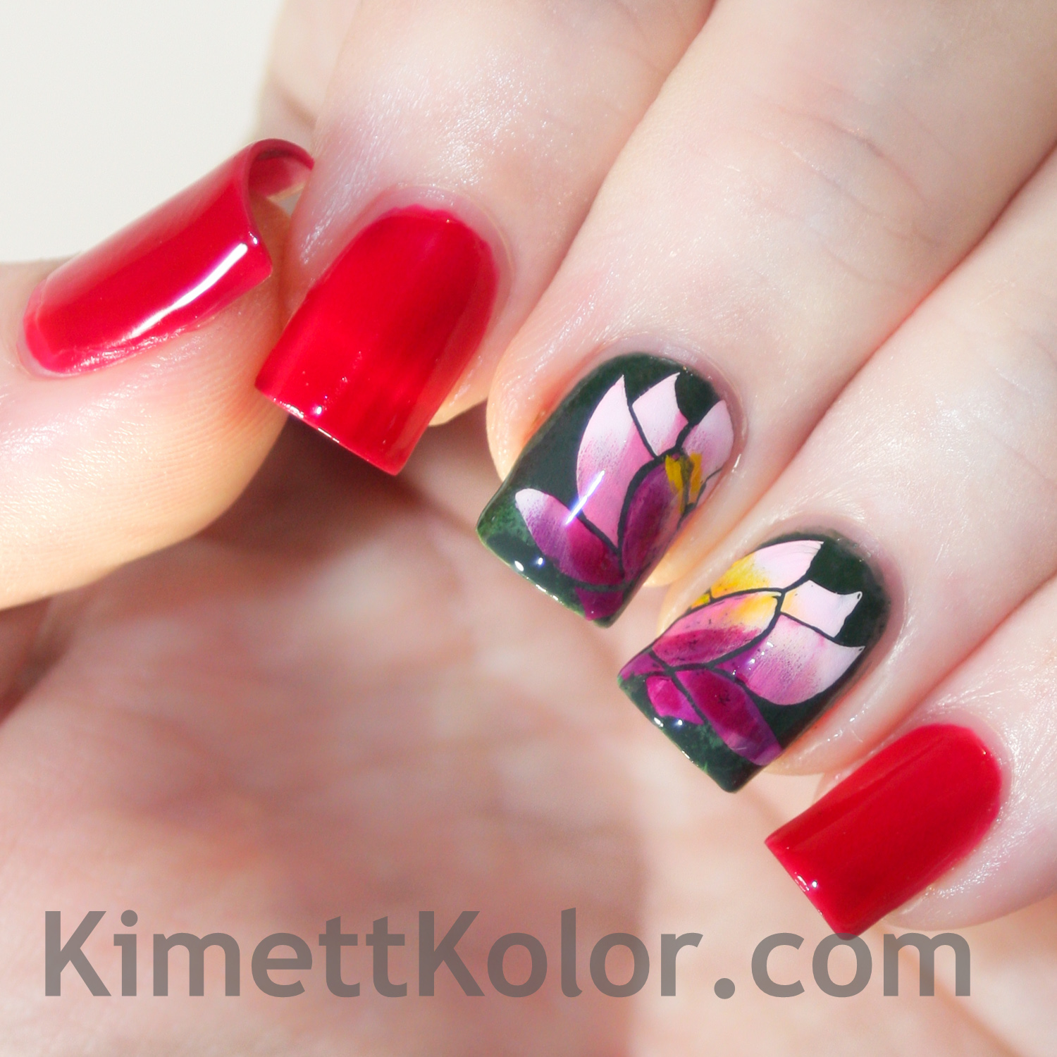 july theme nail art ruby red and water lily