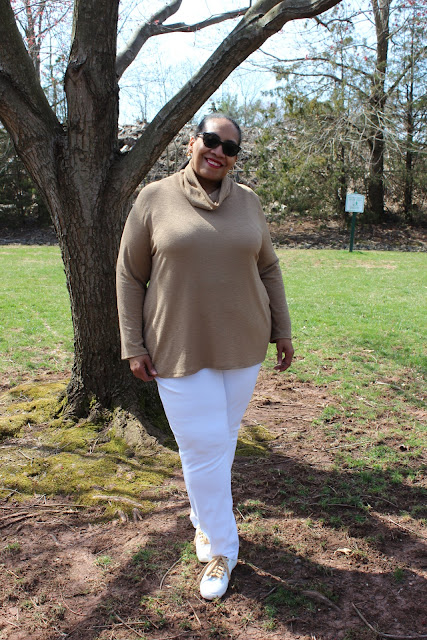 70834d2d2a671 This beige rayon knit is very lightweight so it will work for the beginning  of the spring season. The turtleneck is drapey and loose that will provide  ...