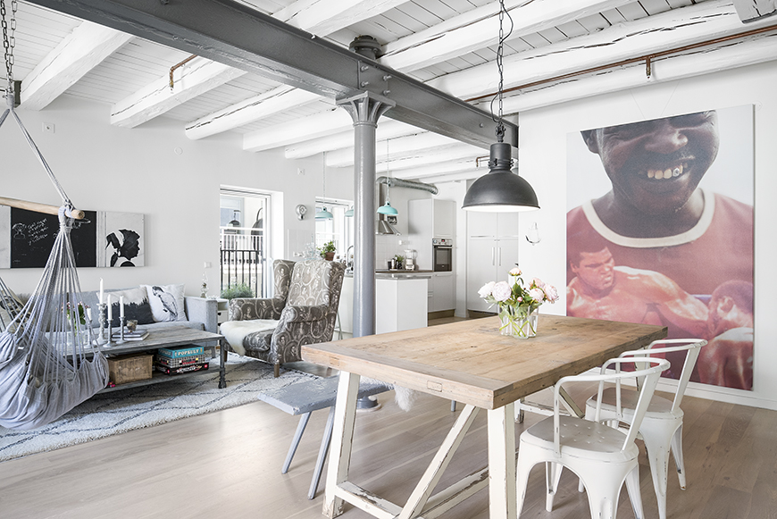 nordic loft with industrial elements and bohemian style