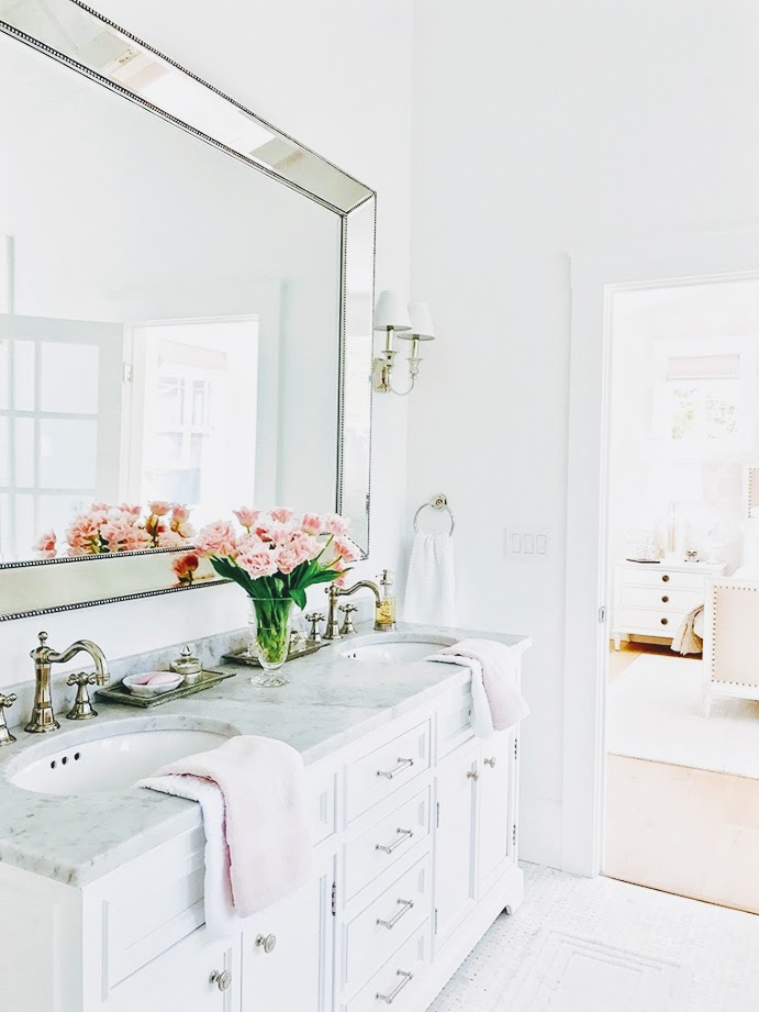 Cool White, Marble Accented Bathroom