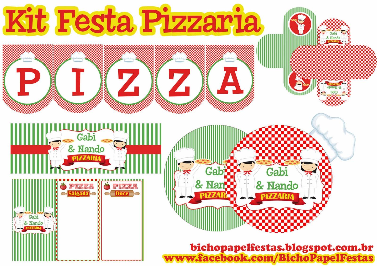 kit festa pizzaria para imprimir
