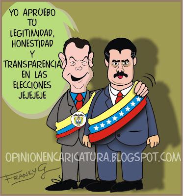 Resultado de imagen para Juan Manuel Santos Nicolás Maduro cartoons