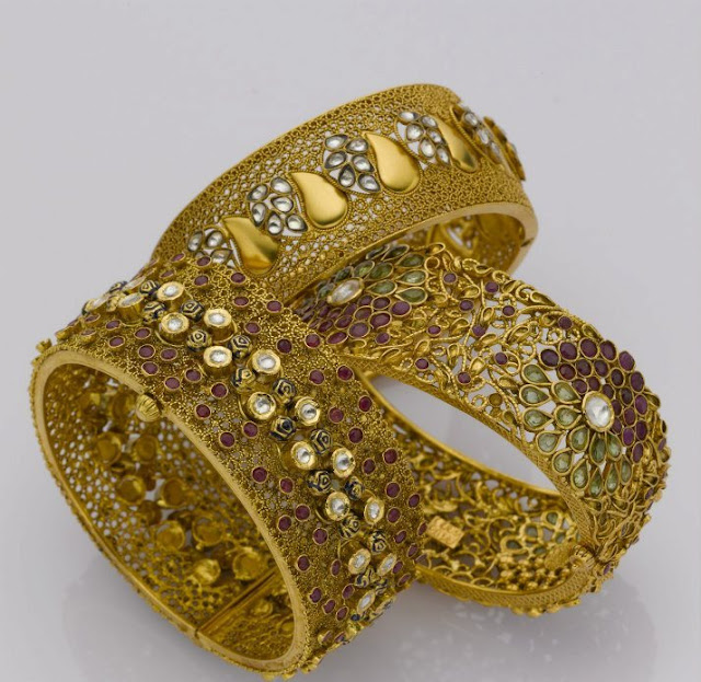 Latest Broad Gold Bangle Designs