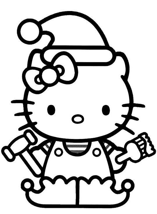Tranh tô màu mèo hello kitty làm thợ sửa chữa
