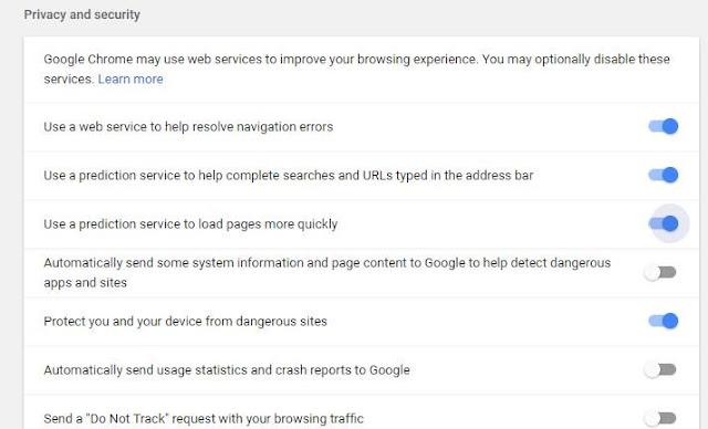 تسريع جوجل كروم عبر تمكين و تعطيل  الجلب المسبق