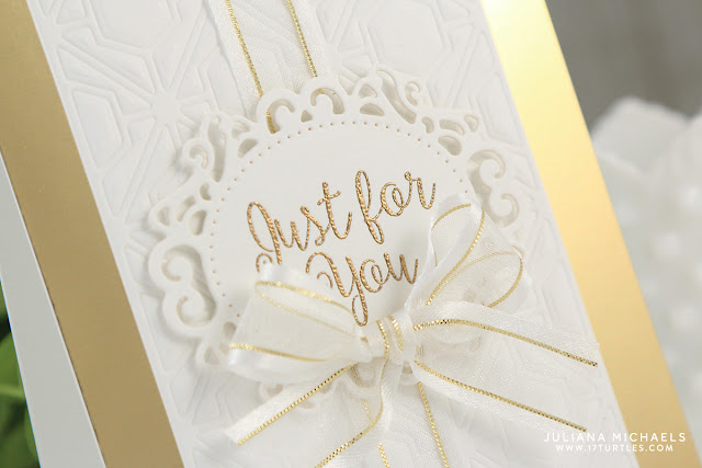 Just For You Elegant White and Gold Card by Juliana Michaels featuring Spellbinders Just For You Die and Stamp Set