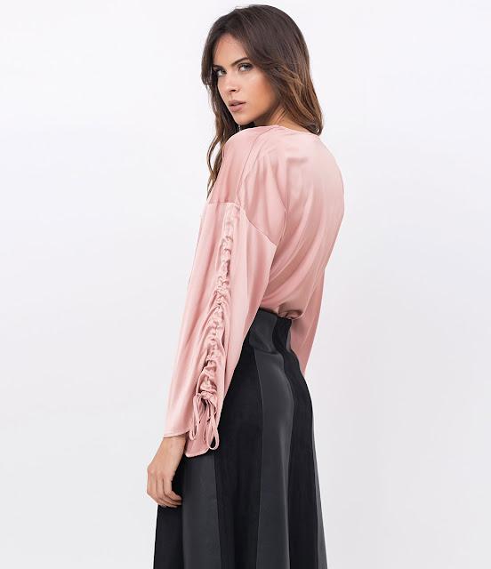 Moda Blusa Acetinada em Chiffon