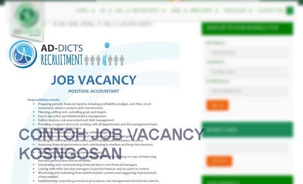 contoh job vacancy bahasa inggris