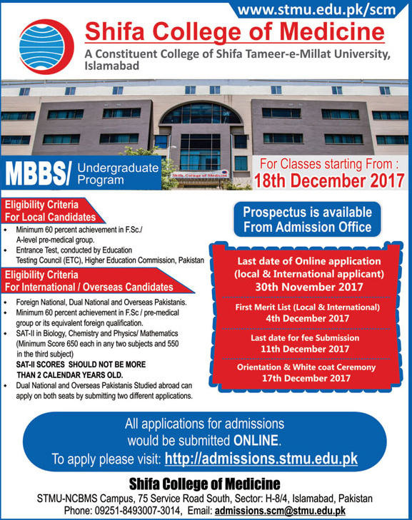 Admissions Open in Shifa College of Medicine Islamabad