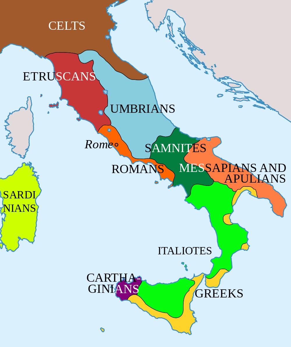 Almacén de clásicas: MAPA DE LOS PUEBLOS DE ITALIA EN EL 400 A.C.