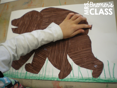Art activities to go with the book Brown Bear, Brown Bear, What Do You See? in the style of Eric Carle for Kindergarten and First Grade