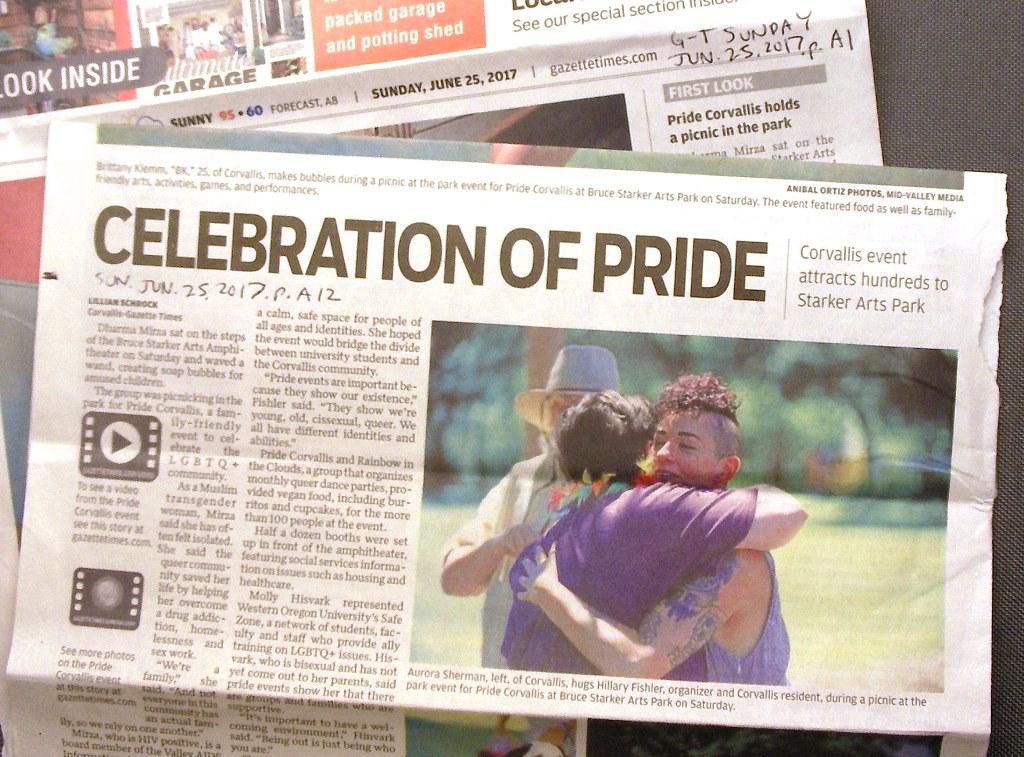 Corvallis Pride front page newspaper story Corvallis Gazette-Times, Jun. Jun. 25, 2017, p. A1, A12