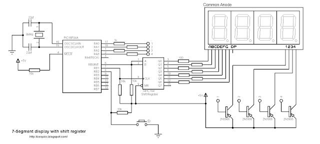 seveb segment display shift register pic16f84a projects ccs pic c