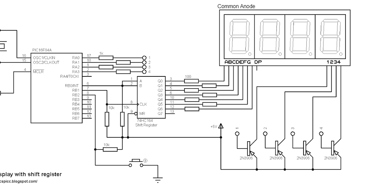 pic projects with ccs pic c compiler  interfacing pic16f84a with multiplexed 7