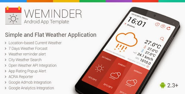Free android sources codes Weminder - Android Weather Application