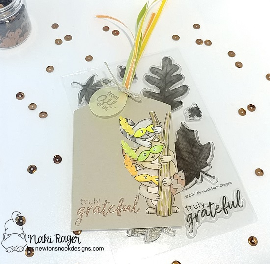 Truly Grateful Raccoon Tag by Naki Rager | Raccoon Rascals and Shades of Autumn Stamp Set by Newton's Nook Designs #newtonsnook #handmade