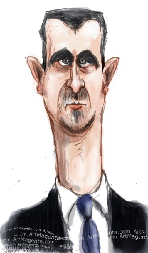 Bashar Al-Assad  caricature cartoon. Portrait drawing by caricaturist Artmagenta