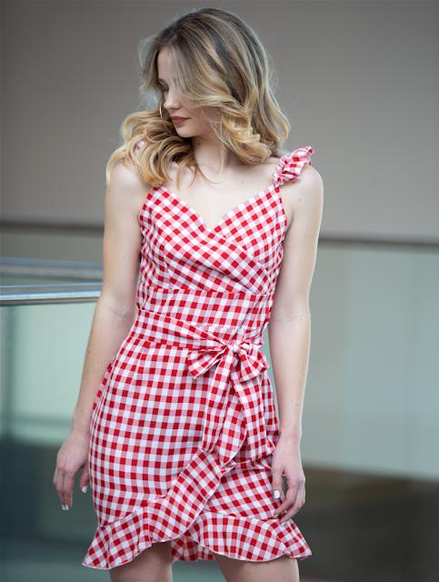 Plaid Mini Dress Nicole Red White