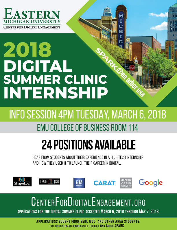 announcing the 2018 digital summer clinic internship