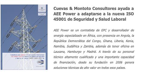Contrato firmado con AEE Power para ayudarles a adaptar su Sistema de Gestión de Seguridad y Salud en el Trabajo a la nueva norma internacional ISO 45001.