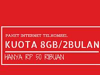 Paket Internet Telkomsel 8GB/60 Hari Hanya 50 ribu
