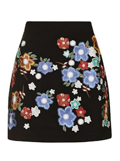 Topshop Star Flower black suede miniskirt with flower embroidery