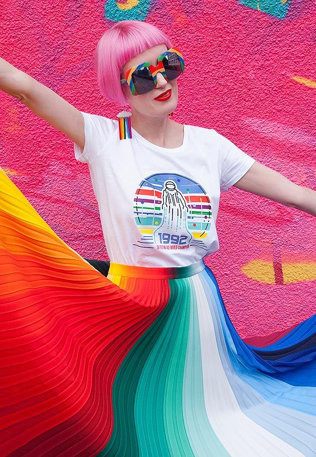 Sara is in Love with… blogger influencer Kitty Joseph rainbow colour wheel pleated skirt Kat Maconie Agatha Ruiz de La Prada Gucci