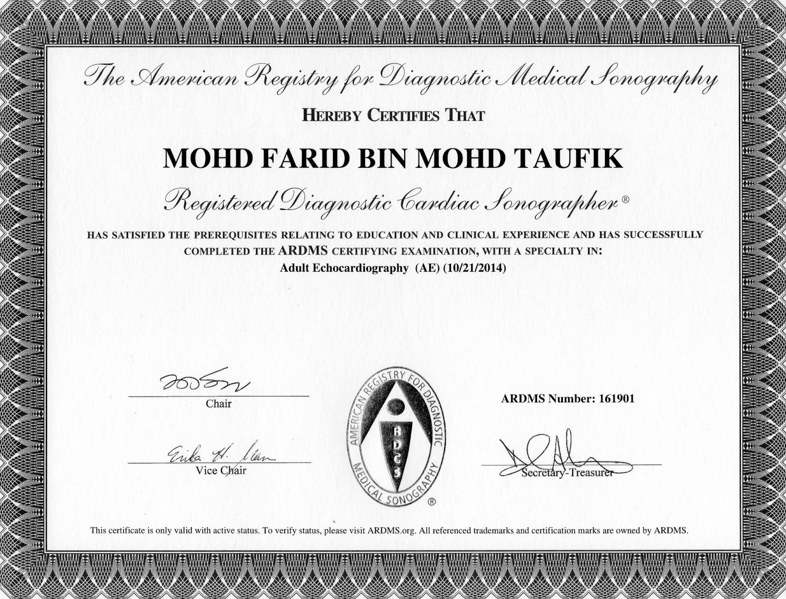 Cvt Mohd Farid Registered Diagnostic Cardiac Sonographer Rdcs