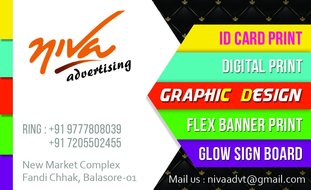 Niva advertising odisha whatsapp 9777808039 mobile 7205502455 creativity visiting card design for advertising agency colourmoves