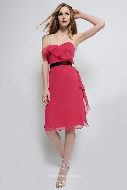 Fuschia Sleeveless Knee Length Asymmetrical Ruffle Sweetheart A-line Chiffon Bridesmaid Dress