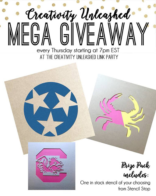 A Stencil Stop Giveaway and Creativity Unleashed Link Party #179 at MyLove2Create