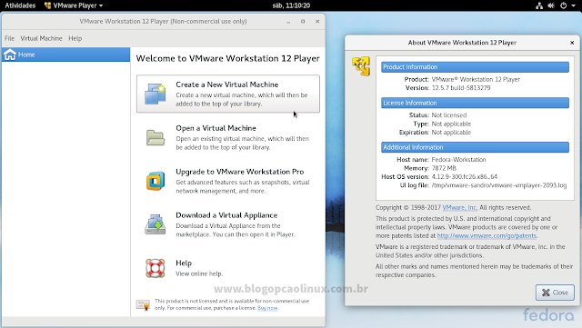 VMware Workstation Player executando no Fedora 26 Workstation, com ambiente de área de trabalho GNOME