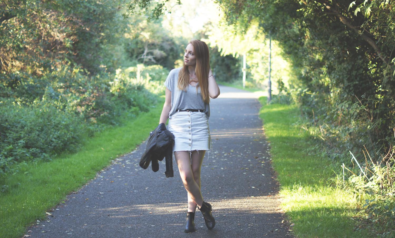 white denim skirt and leather