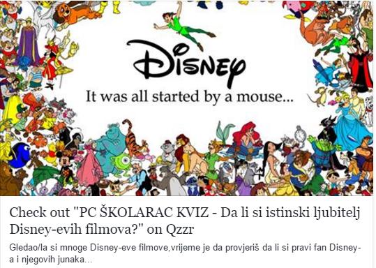 PC ŠKOLARAC KVIZ - Da li si istinski ljubitelj Disney-evih filmova?