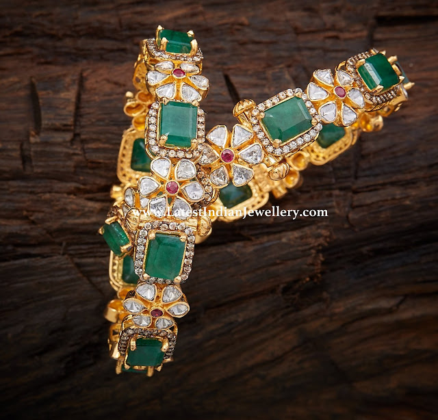 Diamond Emerald Floral Bangles